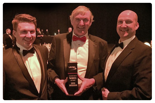Matt Orton, Hugh Rogers and Tom Collins at the UK Rail Awards
